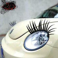 Free shipping new cartoon car sticker for car head cute fit for MINI/QQ/Beetles Car eyelash car decoration  $16.80