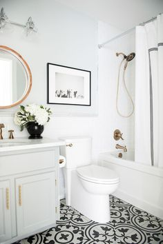 Here we go, a look through the the main (kid) bathroom before & after for you today! This was a small and (extremely) budget friendly fix...