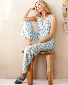 Ruched Surplice Tank Pajamas                                                                                                     in Spring 2013 from Garnet Hill on shop.CatalogSpree.com, my personal digital mall.