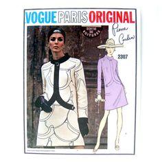 1960s Vintage Vogue Paris Original Sewing Pattern 2307 Pierre Cardin MOD Dress / Uncut FF / Size 12