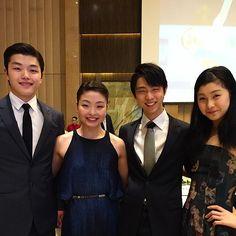 At the banquet with Kanako and Yuzuru! ( Repost from @maiashibutani ) #WCShanghai #ShibSibs