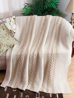 Mocha & Cream - Soft, neutral shades give a cafe au lait look to this beautiful throw accented with elegant textural stitches. This e-pattern was originally published in the April 2012 issue of Crochet World magazine. FREE pattern