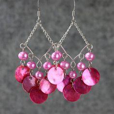 Pearl teal dangling chandelier hoop Earrings handmade