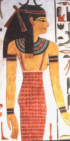 Egyptian women wore full length straight dresses with one or two shoulder straps. During the New Kingdom period it became fashionable for dresses to be pleated or draped. The dresses worn by rich Egyptian women were made from fine transparent linen. Like the men, rich Egyptian women decorated their clothes and wore jewellery and headdresses