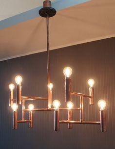Vintage industrial copper pipe chandelier, elegant dining living or retail ceiling light fixture