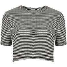 TOPSHOP Stripe Knit Crop Top (2155 DZD) ❤ liked on Polyvore featuring tops, crop tops, shirts, t-shirts, crop, monochrome, crop shirts, striped crop top, knit shirt and elbow length tops