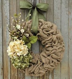 Spring Hydrangea Burlap Wreath-Spring Burlap Wreath-Cream and Green Hydrangea Wreath-Burlap Wreath-Easter Burlap Wreath-Spring Wreath by WhimsyChicDesigns on Etsy