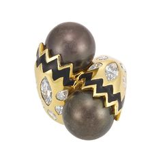 Gold, Dark Gray Cultured Pearl, Diamond and Black Enamel Crossover Ring, David Webb