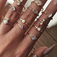 nice Opal , Moonstone, White Topaz dainty gold rings....