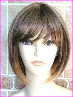 Classy Blonde with Hints of Dark Brown Short Bob with Fringe Fashion Wig