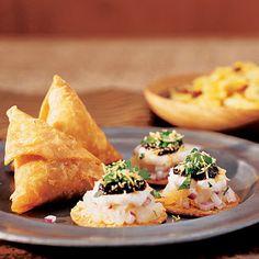 Bollywood: Grapefruit Mimosa (a.k.a. Madras Mimosa)  Frozen Mango Lassi  Eats:  Spicy Indian Snack Mix  Potato-Chutney Crisps (pictured)  Cauliflower Panko Pakoras