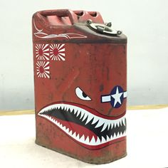 theme jerry can painted by Duke Garage Art, Man Cave Garage, Metal Projects, Welding Projects, Painted Signs, Hand Painted, Vintage Oil Cans, Pinstripe Art, Jerry Can