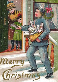 Vintage Christmas Card ~ Mailman Delivering a Package Vintage Christmas Images, Victorian Christmas, Retro Christmas, Vintage Holiday, Christmas Pictures, Christmas Mail, Old Time Christmas, Old Fashioned Christmas, Christmas Scenes