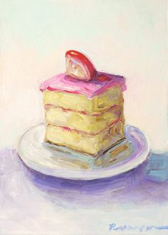 Cake  Dessert Still Life Original Painting Home by artonthemenu, $70.00
