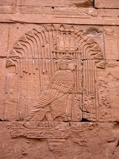 Relief of the Ba (soul) of God Mandulis manifested as a legendary bird on the Ancient Egyptian Kalabsha Temple
