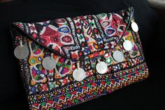bolso etnico boho tribal bordado kuchi afhan clutch bag banjara rabari india de azulcasinegro