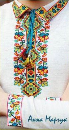 Ukraine, embroideries on a man's shirt from Iryna