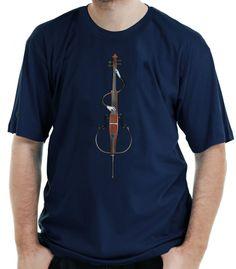Camiseta estampada com a imagem de um Contrabaixo que se toca.