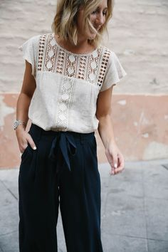 navy culottes outfit and crochet yoke top, women's fashion, how to dress for fall or spring, culotte pants, suede fringe espadrille platforms, travel style, bohemian