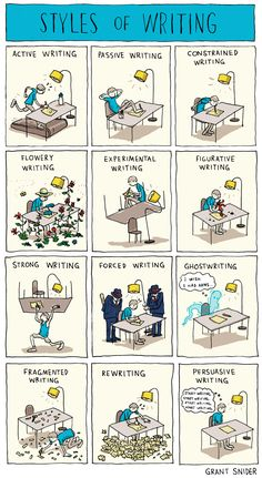 Styles of writing by Grant Snider.