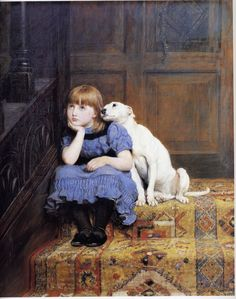 This painting is close to my heart. For the majority of my childhood, a copy of it hung in our bedroom and I loved it. I have it now, tucked away under my bed as it needs a little fixing due to scratches but it was a large part of my earlier visual memory. Briton Riviere - Sympathy