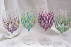 Affordable Handpainted Wine Glasses: Wedding by MyCreativeTable