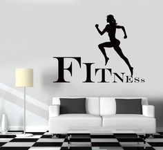 Wall Decal Fitness Girl Gym Woman Sport Vinyl Sticker Unique Gift Z3251