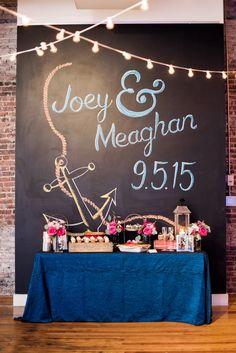 Chalkboard wall for Joey and Meaghan's wedding! AJ Dunlap Photography www.thestockroomat230.com #thestockroom #thestockroomat230 #downtownraleigh #weddingvenue #reception #raleighweddingvenue