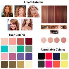 """Soft Autumn Color Type: Intermediate between the color type """"autumn"""" and """"summer"""". Muted hair tones. The type is lowly contrasting."""