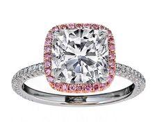 Cushion Diamond Engagement Ring Natural Pink Diamond Halo Rose  gold
