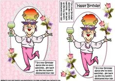 Edna dance for your birthday on Craftsuprint designed by Carol Smith - a quick make topper sheet featuring Edna who is celebrating her birthday with a dance and a glass of wine her comment being.... It's your birthday dance like no one's watching.... get back up like you haven't dislocated your hip! happy birthday tag also provided for the placement of your choice.thank you for looking please take a peek at my other items - Now available for download!