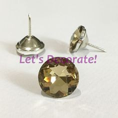 Tea Color 50PCS/LOT 25MM Diamond Crystal Glass Tacks, Sofa Sewing Tacks, Bedboard Decoration Crystal Tacks, Upholstery Tacks/Buttons.