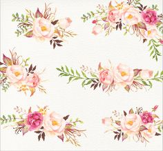 Romantic Blooms Watercolour Clip by GraphicSafari on Etsy
