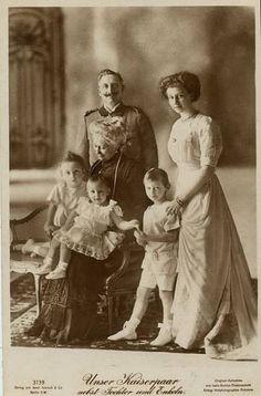 The 3 eldest children of CP Friedrich Wilhelm, Princes Louis Ferdinand, Hubertus, and Wilhelm, with their grandfather, Kaiser Wilhelm II, grandmother Empress Augusta, and aunt, Princess Viktoria Luise.