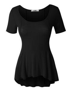 LE3NO Womens Lightweight Short Sleeve Scoop Neck Peplum Top #invertedbeauty #invertedtriangle