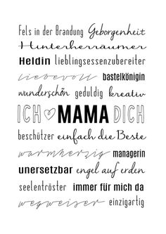 Dekoration - MUTTERTAG Typo Kunstdruck MAMA IST DIE BESTE - ein Designerstück von roomstories-Bilderrahmen bei DaWanda www.roomstories.de