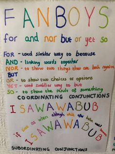 Fanboys Conjunctions, Subordinating Conjunctions, Linking Words, Grammar Rules, English Writing Skills, Home Learning, Year 2, English Grammar, Anchor Charts