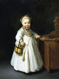 1640 Govert Flinck (Dutch artist, 1615-1660) Little Girl by a High Chair
