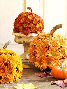 Make these DIY pumpkin flower arrangements to add a pretty touch to your Thanksgiving table or your fall décor! Get the tutorial at The Sweetest Occasion. Halloween Flower Arrangements, Halloween Flowers, Fall Arrangements, Fall Halloween, Thanksgiving Stories, Thanksgiving Diy, Thanksgiving Table Settings, Thanksgiving Decorations, Table Decorations