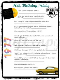 1977 Birthday Trivia Game-| Birthday Party Trivia | Instant Download by 31Flavorsofdesign on Etsy