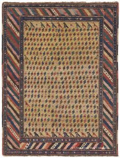 This very joyful nomadic 19th century Kurdish rug captivates the viewer with its incredibly playful naivete and folkloric charm. Its heavily abstracted field of repeating boteh motifs joined by charming bird forms, arranged in rows along top and bottom edges, gives this antique tribal carpet an entirely original, deeply personal atmosphere.  http://www.claremontrug.com/press/art-and-antiques-major-collectible-persian-rug-event.aspx