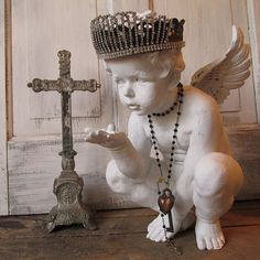 Cherub statue with handmade crown French Nordic painted distressed angel figure romantic vintage embellished home decor anita spero design