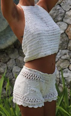 Halloween Custom Design Handmade Crochet Shorts Set Crop Top And Matching Shorts Custom Made Design With Sketches Cosplay Wedding