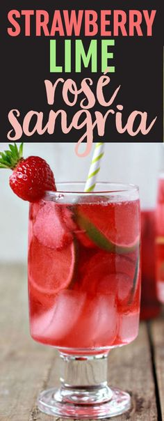 Strawberry Lime Rosé Sangria recipe - This light, refreshing, and simple sangria is perfect for sipping on a toasty summer afternoon. The bright ruby-red hue is compliments of starting with a nice pink rose wine, and then soaking strawberries in it. Party Drinks, Cocktail Drinks, Fun Drinks, Cocktail Recipes, Beverages, Drink Recipes, Lime Drinks, Festive Cocktails, Snacks