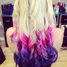 CUte purple ombre hair probably would look best if your a blonde that way the collors are more vibrant Cute Hair Colors, Hair Color Purple, Purple Ombre, Pink Hair, Purple Tips, Hair Colours, Pink Blue, Violet Ombre, Purple Balayage