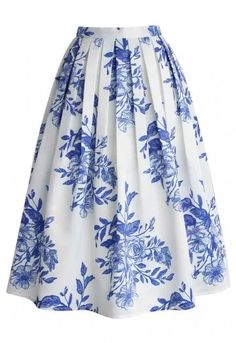 Blue Floral Sketch Pleated Midi Skirt