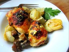 The Chew's Baked Artichoke Chicken- will try with boneless/skinless chicken breast in place of legs and thighs.