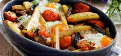 The addition of juicy plum tomatoes and Portobello mushrooms turns this dish into posh 'egg and chips'.