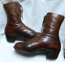 Vtg. Antique 1900's Edwardian High Ladies Lace Boot Shoes Leather Aristocrat