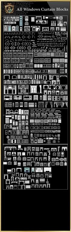 Windows Curtain Blocks Collection (All in one! Architecture Symbols, Famous Architecture, Architecture Details, Architecture Diagrams, Architecture Portfolio, Classical Architecture, Autocad, Study Room Design, Tv Wall Design